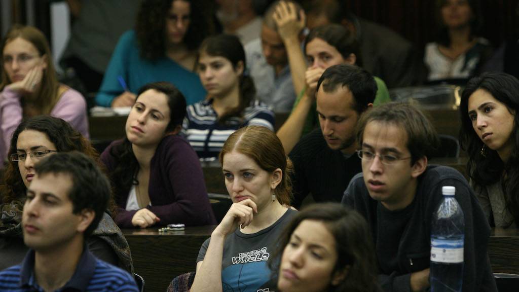 """Israeli students during a lecture in the Hebrew University of Jerusalem """" Har Hatsofim"""" or """" Mount Scopus """" on the first day of the academic year, November 02, 2008. Photo by Michal Fattal/Flash90."""
