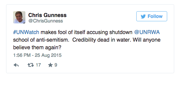 Chris Gunness Tweets in response to UN Watch's observations