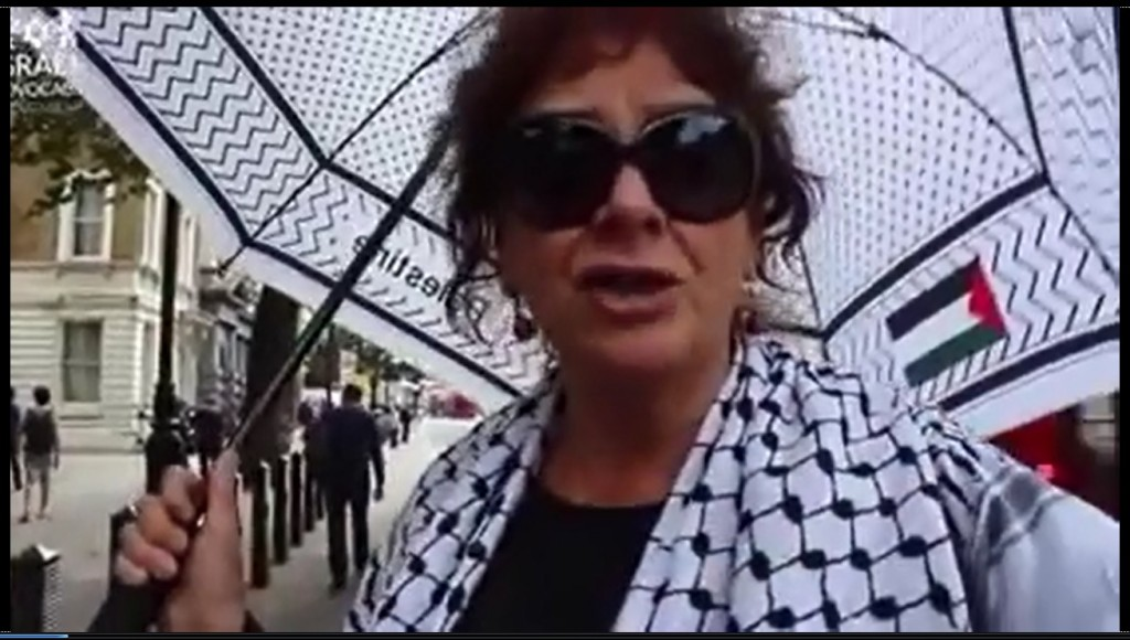 A 'Palestinian supporter' in London doesn't care if all Israeli Jews are butchered.  Seehttps://www.youtube.com/watch?t=1&v=3IwZSAjiGnw.  {YouTube screenshot}