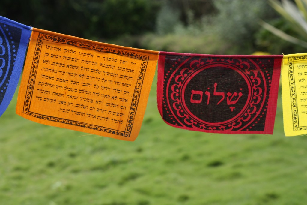 Tibetan prayer flags for the Sukkah (Tevel.org)