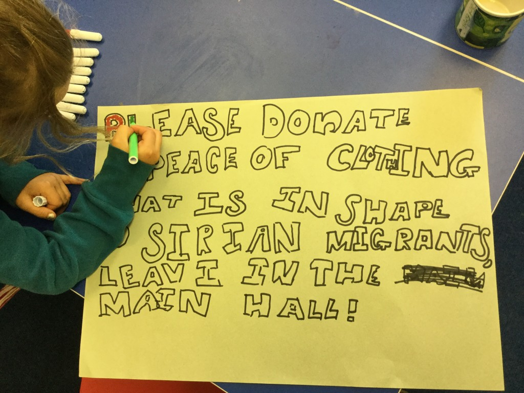 'Please donate a peace of clothing that is in shape for Sirian migrants '