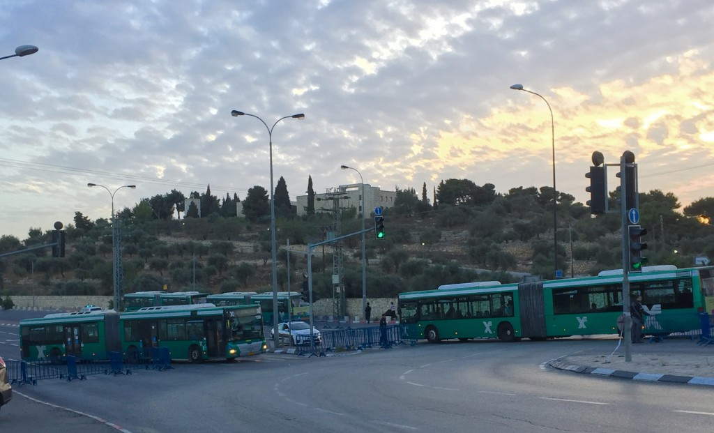 Empty shuttle buses waiting for passengers to Rachel's Tomb