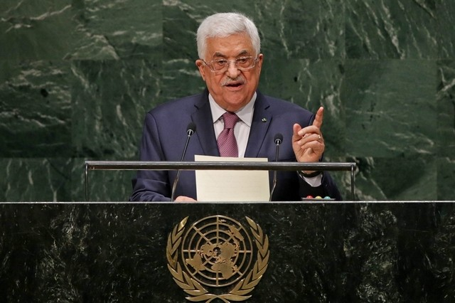 Mahmoud Abbas speaking at the United Nations. (Credit: Justin Lane, EPA)