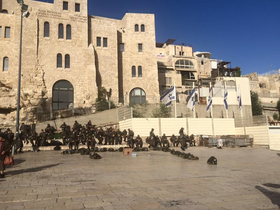 Police mustering at the Kotel, October 14, 2015. Photo by Charlie Kalech