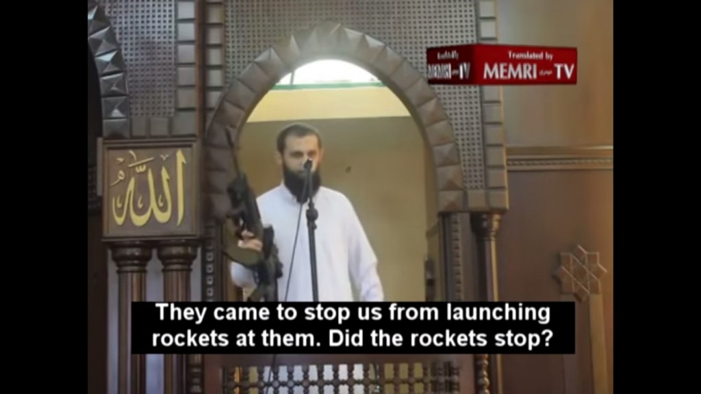 Sheik Iyad Abu Funun delivering his Friday sermon at Gaza's Huda Mosque on August 29 during which he used the eye-popping prop.