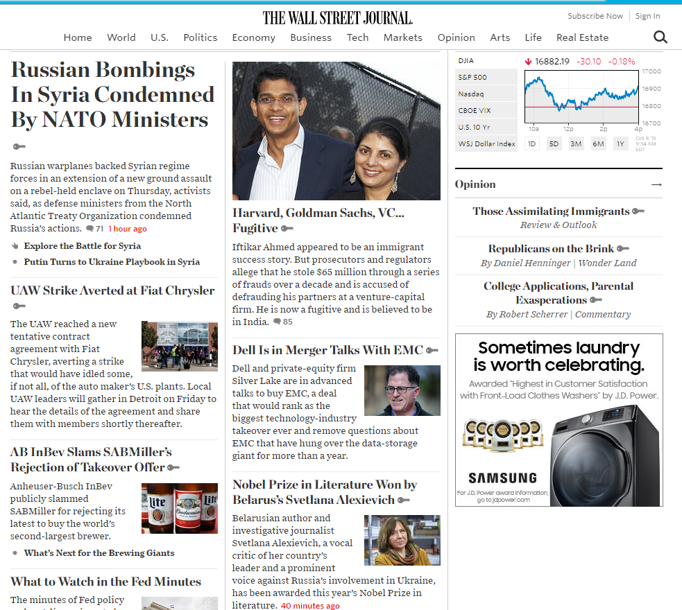 Wall Street Journal Homepage