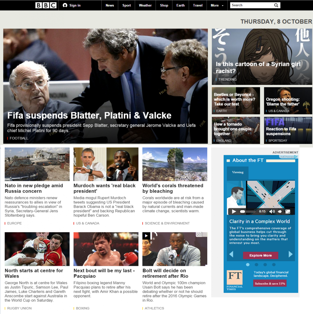 BBC News Homepage