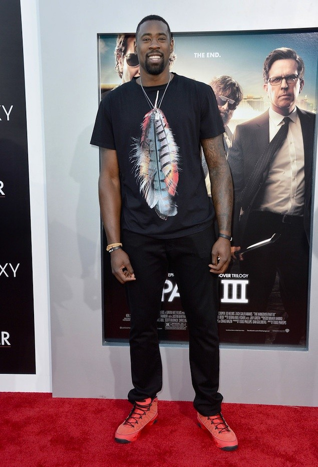 U.S. basketball player DeAndre Jordan wearing Marcelo Burlon at a movie premiere in Los Angeles (2013).