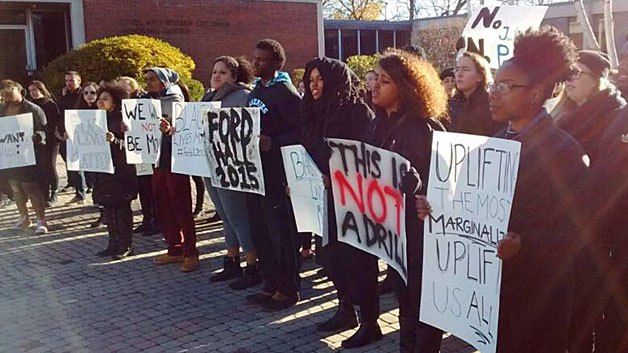 At Brandeis U-Photo credit: Brandeis Students of Color Demands 2015 - Ford Hall 2015