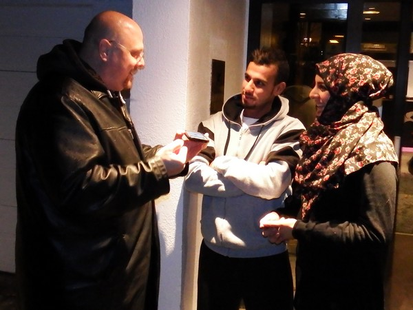 Nehemia Gordon Interviewing Palestinian bicycle refugees in Stavanger, Norway.