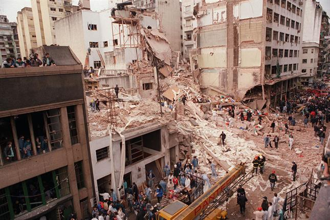 The aftermath of the AMIA bombing, which left 85 dead and more than 200 injured. The 20th anniversary of the bombing was this past July. Photo By: Wikipedia