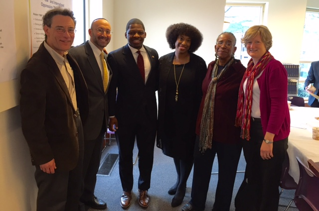 photo of MA rabbis with local leaders of the Black Lives Matter campaign