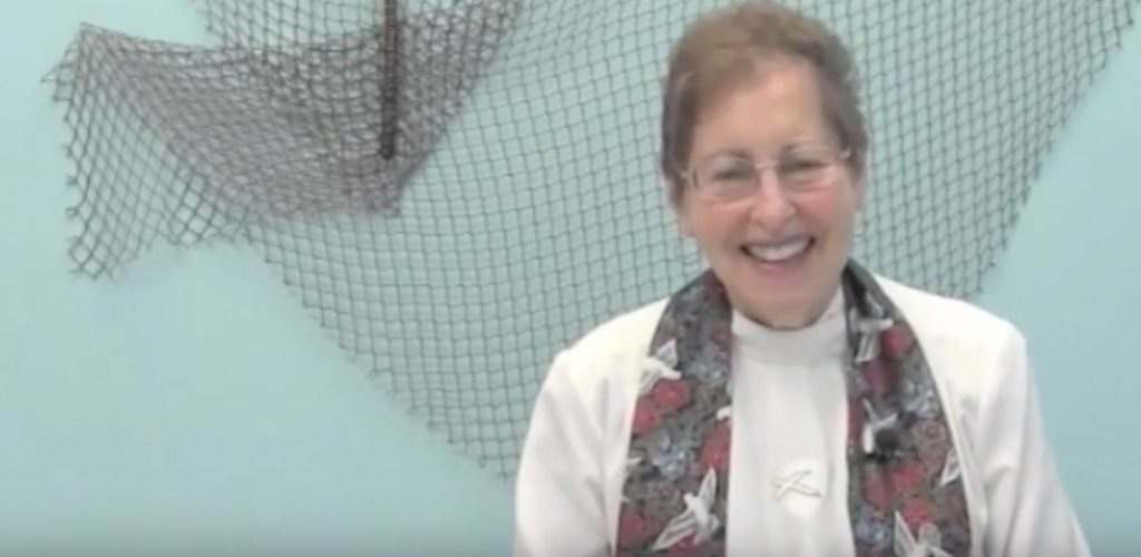 The Rev. Dr. Audrey Leonard Borschel preaching on an online ministry she helped found, called DisciplesNet. (courtesy)