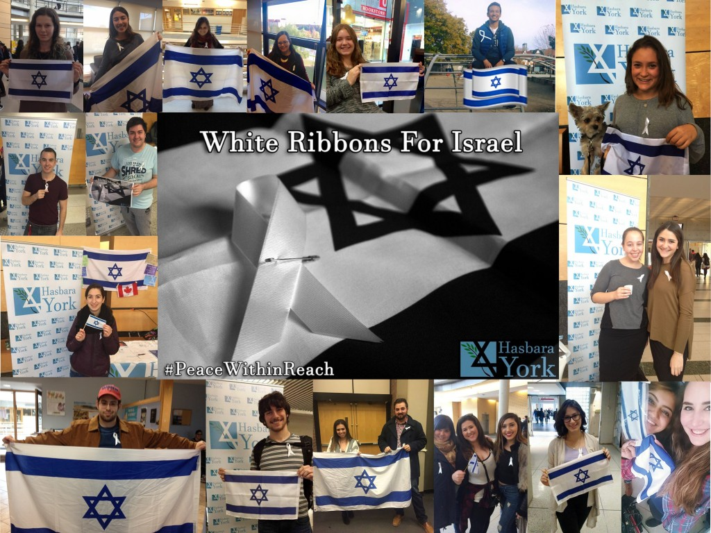 White Ribbons for Israel. photo: Hasbara York