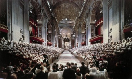 Pope John XXIII leads the opening session of the Second Vatican Council in St. Peter's Basilica at the Vatican Oct. 11, 1962. (CNS photo/Giancarlo Giuliani, Catholic Press Photo)