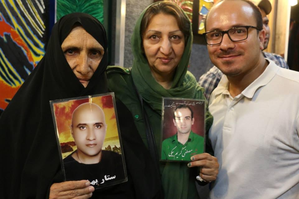 Emad with mothers who have lost their sons to the brutality of Iranians prisons