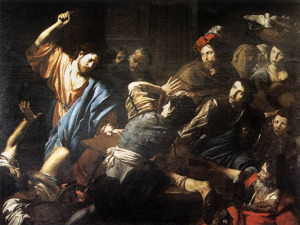 Jesus overturning the tables of the money changers at the Temple (Mathew 21:12) causing 'public unrest'