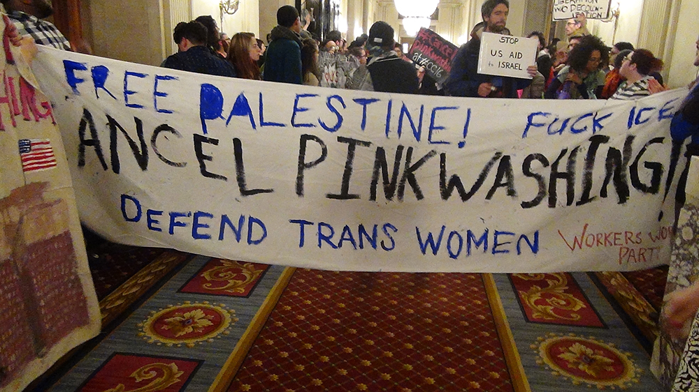 Protesters at an LGBTQ conference in Chicago accused Israel of obscuring its treatment of Palestinians by touting its record on gay rights. (Courtesy of A Wider Bridge)