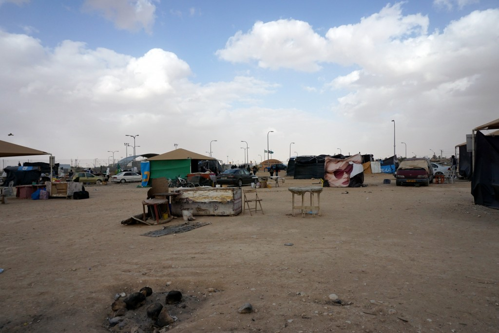 Tents outside Holot that refugees have set up for themselves.