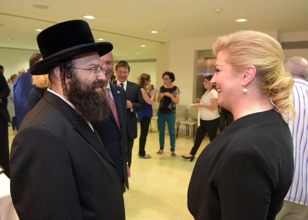 """Artist Joseph Sherman with the President of Croatia Grabar-Kitarović at a reception in Jerusalem Israel (Photo Courtesy of """"Office of the President of the Republic of Croatia, Tomislav Bušljeta)"""
