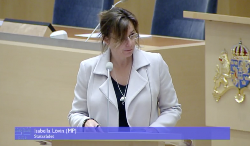 Minister for International Development Cooperation Isabella Lövin in Parliament today (Video capture, Riksdagen Webb TV)
