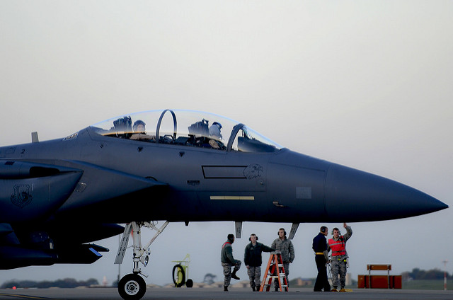 An F15 prepares to take off from Incirlik, Turkey for a mission over Syria, credit US Dep. of Defense