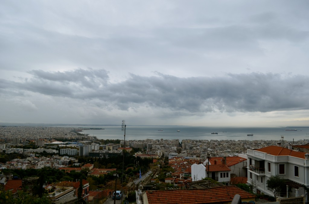 Imposing clouds descend upon Salonika.