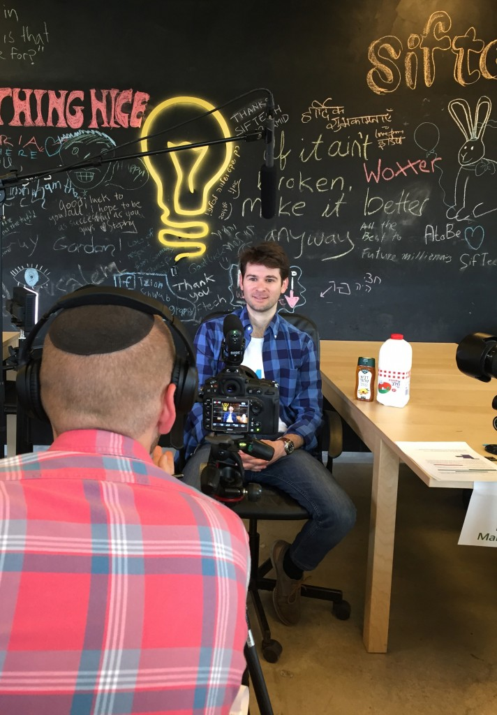 Itzik Yarkoni, founder and CEO of BOMAH, being interviewed.