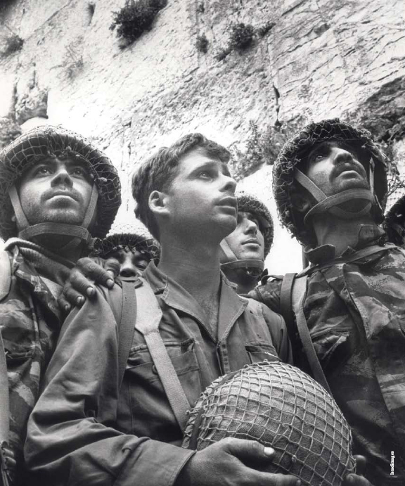 Famous photograph from the Six Day War in 1967: Soldiers at the Western Wall just moments after liberating Jerusalem from Jordanian troops