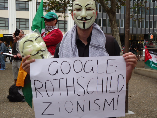 Antisemitic placard at the Nakba Day protest, Sydney, 15 May 2016