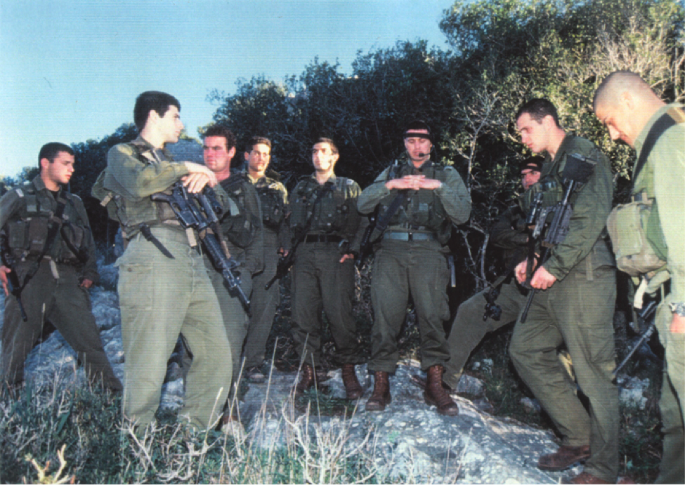 with troops