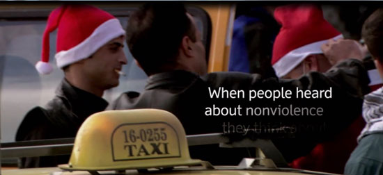 Palestinian protesters featured in the 2010 movie Little Town of Bethlehem dress up as Santa Claus to portray the Israelis who arrest them as the Grinch Who Stole Christmas. Mart Green, an heir to the Hobby Lobby fortune produced the film, which was directed by Jim Hanon. (Screenshot from film.)