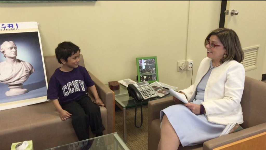 """Make Islam Great Again Campaign: City College of New York President Lisa Coico interviews Soborno Isaac Bari, also known as the """"4 Year-old Einstein"""". Lehman College President Ricardo Fernandez will interview him on July 12 at 11:00 AM."""