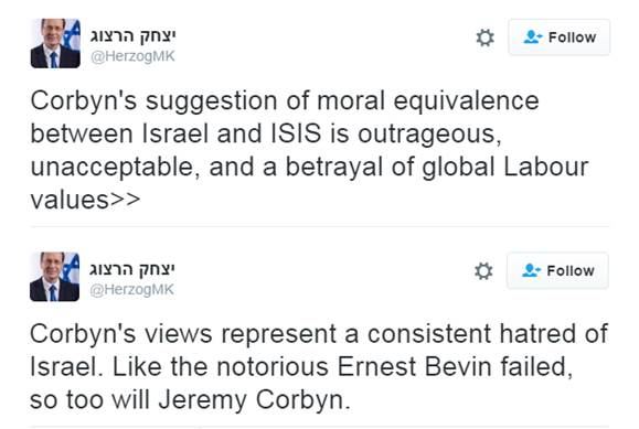 Isaac Herzog's reaction on Twitter. herzog is the leader of Israel's Labour movement.