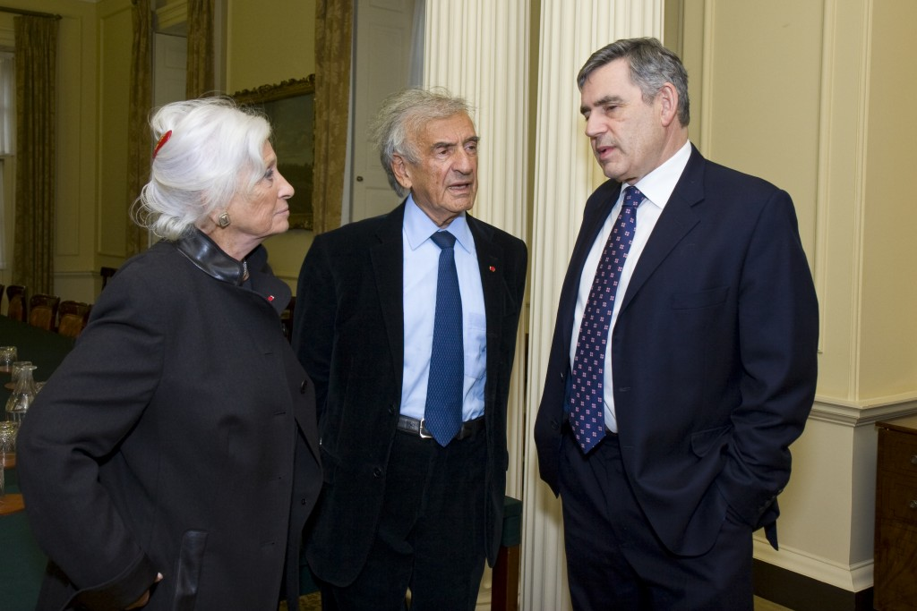 Marion & Elie Wiesel with former Prime Minister Gordon Brown