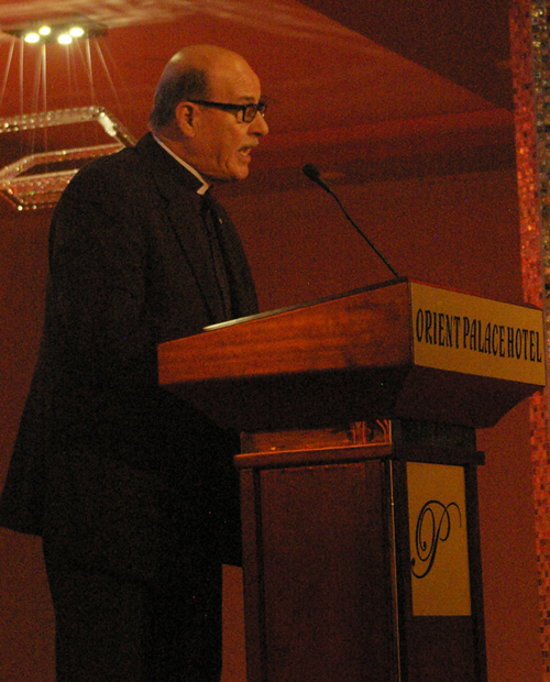 Rev. Munir Kakish, president of the Council of Evangelical Churches in the Holy Land, speaking at the Christ at the Checkpoint Conference in 2016.
