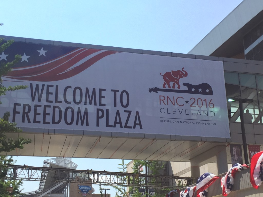 Outside Cleveland's Quicken Loans Arena, site of the 2016 Republican National Convention