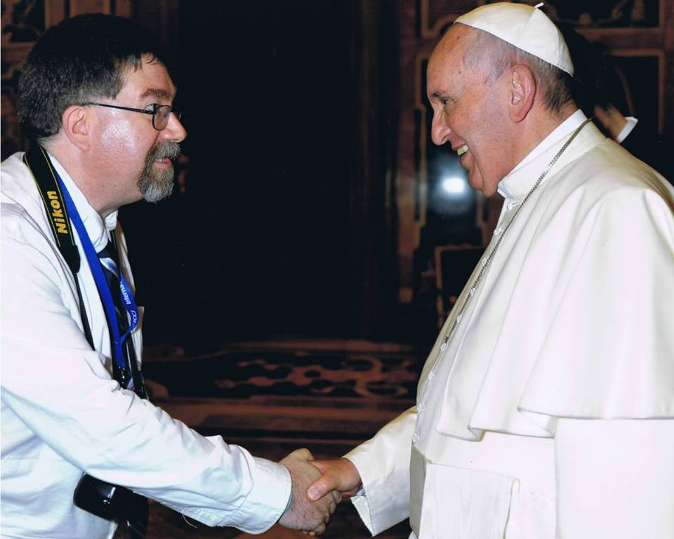 Dr. Murray Watson and Pope Francis in Rome, at the ICCJ meeting marking the 50th anniversary of Nostra Aetate, June 2015.