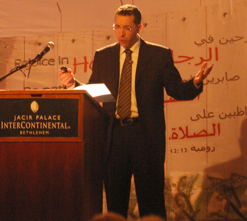 Rev. Dr. Yohanna preaching at the Christ at the Checkpoint Conference in 2012. (Photo: Dexter Van Zile)