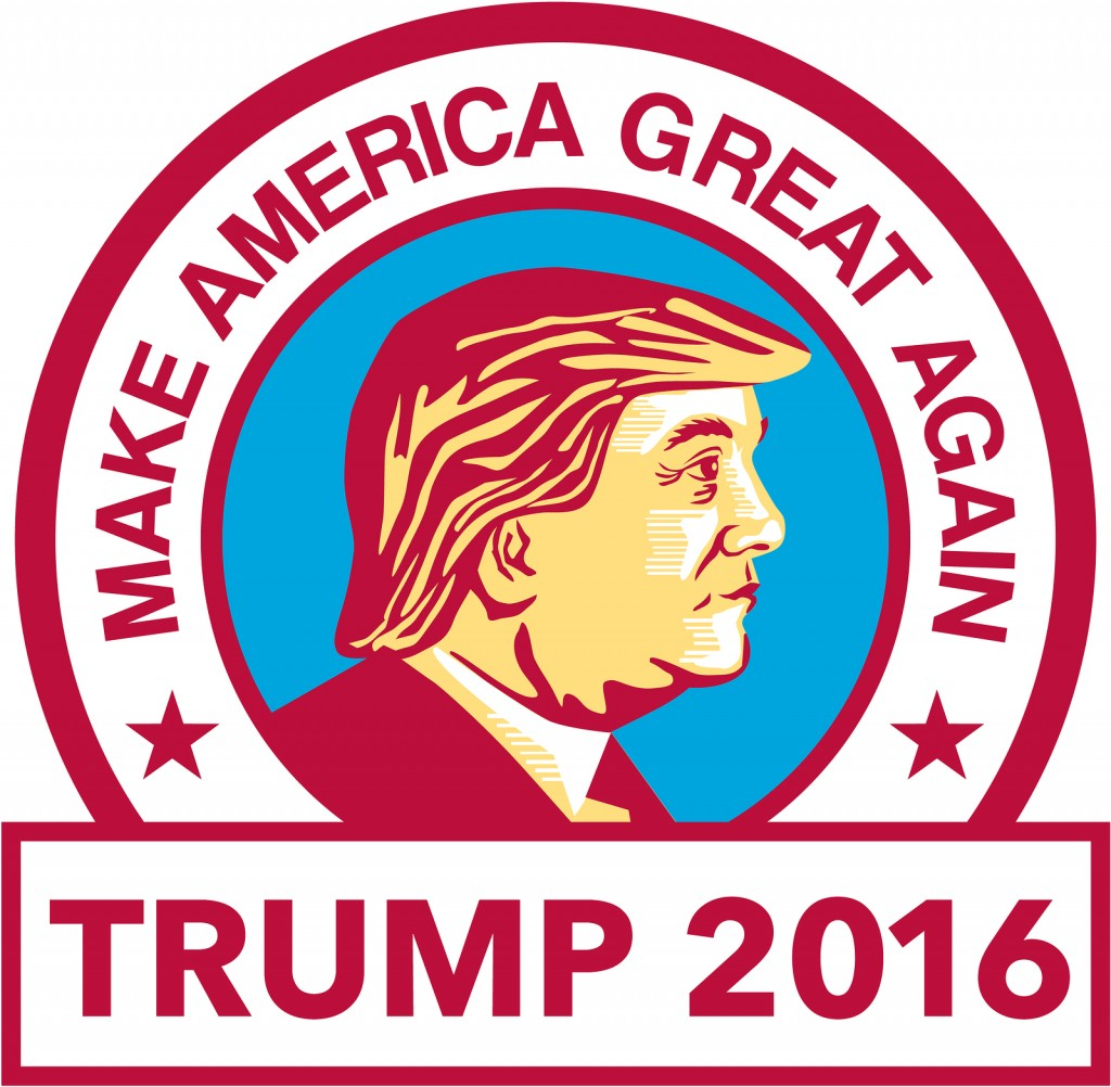illustration of Donald Trump with We Will Make America Great Again