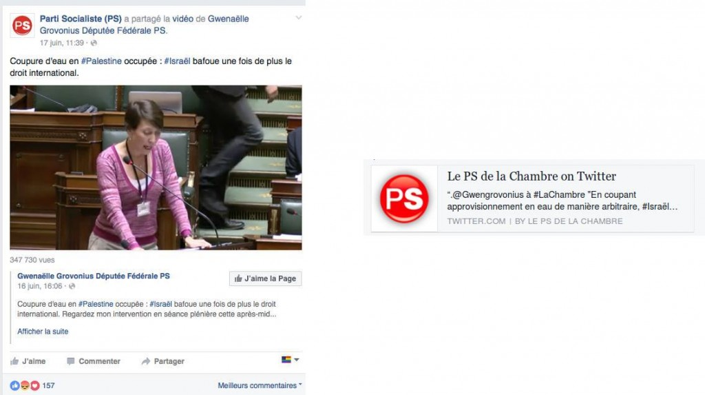 The Belgian Socialist Party advertises the anti-Israel slander of MP Gwenaëlle Grovonius on Facebook (left) and Twitter (right).
