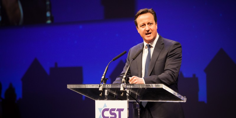 David Cameron speaking at a CST annual dinner