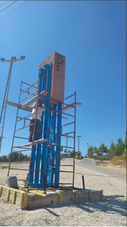 Ongoing renovation of Tumarkin's sculpture in Shiloh.