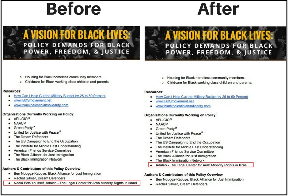 With and without the Adalah credits. Screen grabs by NGO Monitor. (Click to expand.)