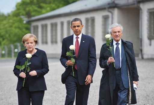 President Barack Obama, center, German Chancellor Angela Merkel, left, and holocaust survior Elie Wiesel making their way to pay their respects at a memorial during a visit to the former Buchenwald concentration camp near Weimar in Germany, June 5, 2009. (AFP/MANDEL NGAN)Wiesel, the Holocaust survivor, renowned writer and Nobel peace laureate who worked to keep alive the memory of Jews slaughtered during World War II, has died, Israel's Yad Vashem Holocaust centre said on July 2, 2016. / AFP PHOTO / MANDEL NGAN