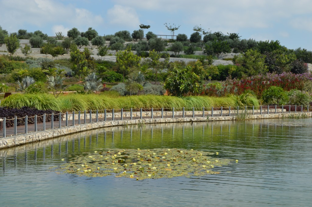 "The park's tranquil lake, complete with floating lily pads and a border built from recycled concrete, is a far cry from the waters of the former landfill, once caustically referred to as ""garbage juice"" (James S. Galfund)"