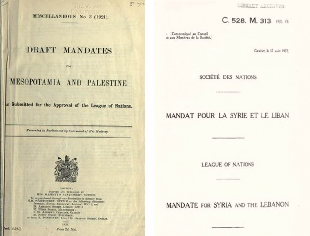 The League of Nations awarded Mandates for 'Mesopotamia' and 'Palestine' to Britain and for 'Syria' and 'Lebanon' to France.