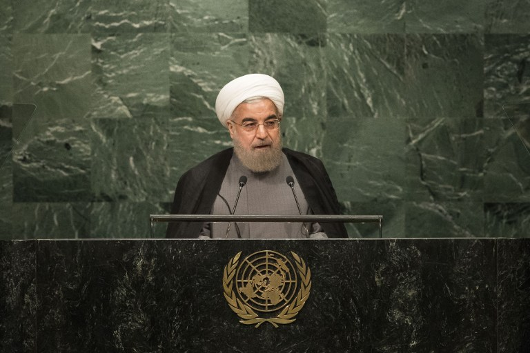 'Zionists' to blame for US 'violations' of nuclear deal: Iran's President Hassan Rouhani addresses the United Nations General Assembly gathering in New York, September 22, 2016 (screen capture)