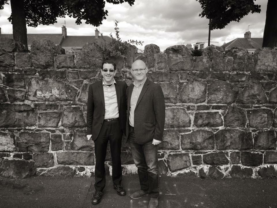 Paul Maskey MP met Jewish Chaplain Alex Goldberg outside the Jewish section of Belfast City Cemetery following vandalism of Jewish graves in his constituency