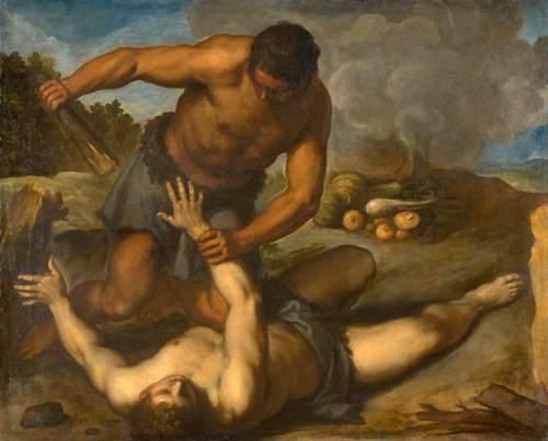 painting of Cain kills Abel (c. 1603) oil on canvas-by Palma Giovane (1548–1628) currently held at Kunsthistorisches